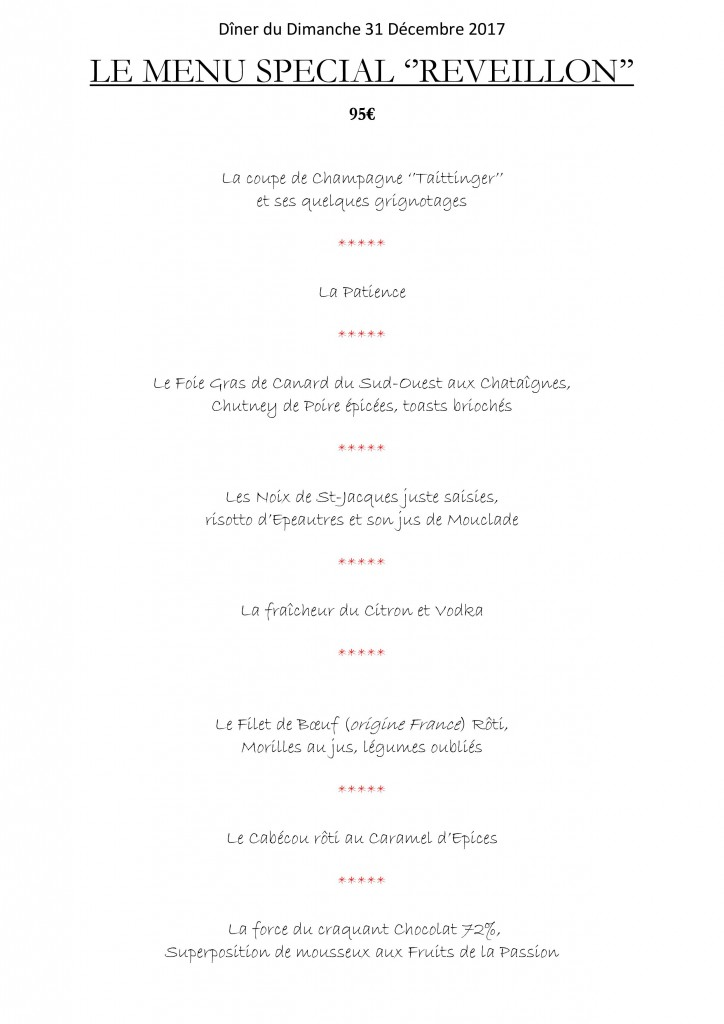 MENU REVEILLON 2017